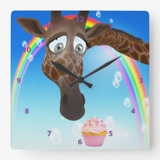 Funny Whimsical Giraffe, Cupcake & Rainbow Square Wall Clock