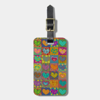 Funny whimsical hearts bag tag