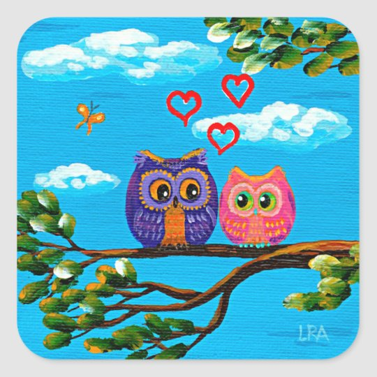 Funny Whimsical Owls in Love Hearts Creationarts Square Sticker