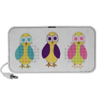 Funny Whimsical Owls Laptop Speakers