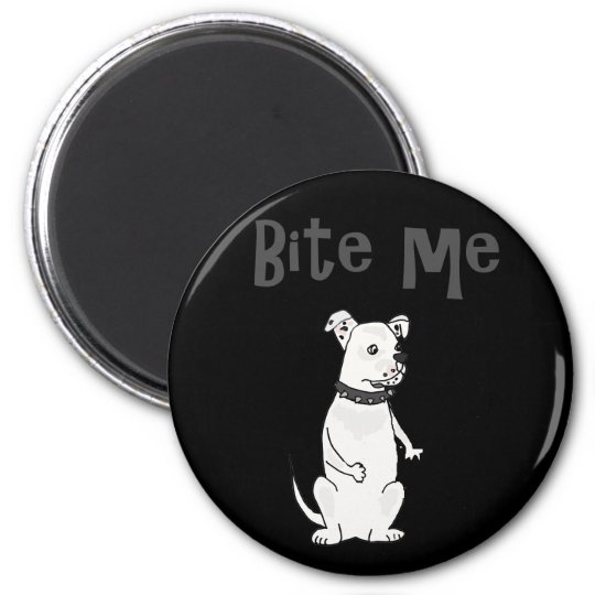 Funny White American Bulldog Bite me Cartoon 6 Cm Round Magnet