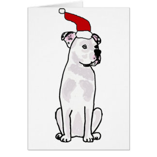 Funny White American Bulldog Christmas Design Card