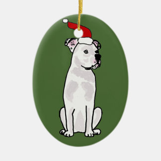 Funny White American Bulldog Christmas Design Ceramic Oval Decoration