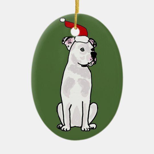 Funny White American Bulldog Christmas Design Christmas Ornament