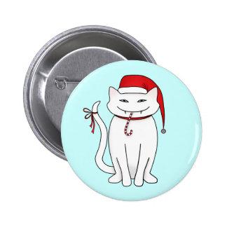 Funny white Christmas cat 6 Cm Round Badge