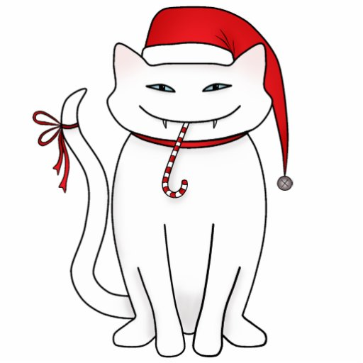 Funny white Christmas cat Acrylic Cut Outs