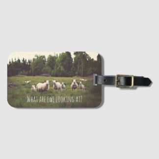 Funny White Fluffy Sheep & Lamb Field Trees Rocks Luggage Tag
