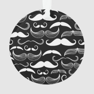 Funny White Mustache Design on Black