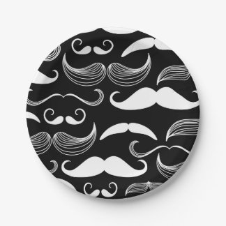 Funny White Mustache Design on Black Wall Decal Paper Plate