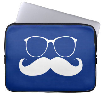 Funny White Mustache Glasses on Blue Background Laptop Sleeve