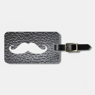 Funny White Mustache On Black Leather Pattern Luggage Tag