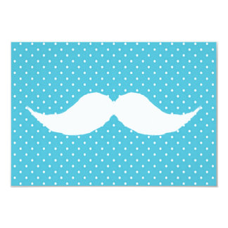 Funny White Mustache On Blue Polka Dots Pattern 9 Cm X 13 Cm Invitation Card