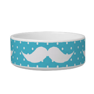 Funny White Mustache On Blue Polka Dots Pattern Bowl