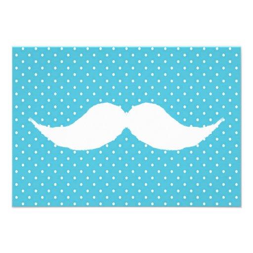 Funny White Mustache On Blue Polka Dots Pattern Invite