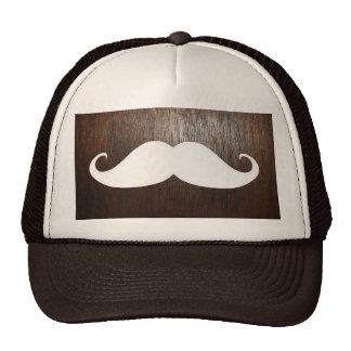 Funny White Mustache on oak wood background Cap