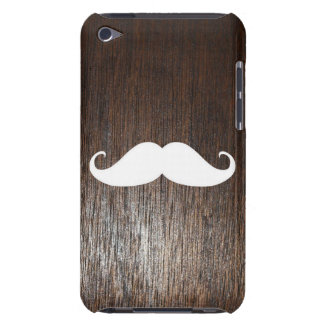 Funny White Mustache on oak wood background Case-Mate iPod Touch Case