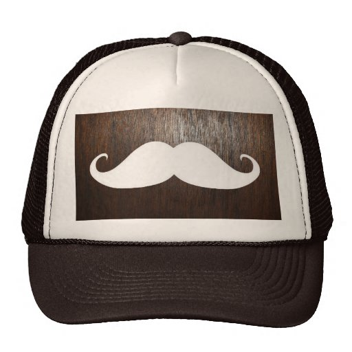 Funny White Mustache on oak wood background Mesh Hats