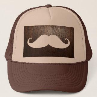 Funny White Mustache on oak wood background Trucker Hat