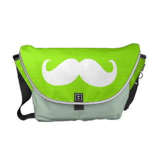 Funny White Mustache on Yellow Green Background Messenger Bag