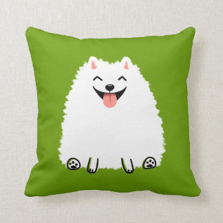 Funny White Pomeranian Cartoon Dog Cushion