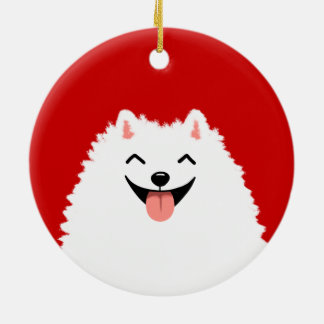 Funny White Pomeranian Cartoon Dog Round Ceramic Decoration