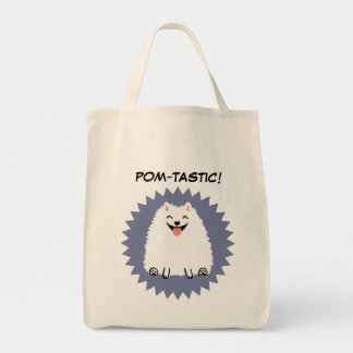 Funny White Pomeranian with Custom Text Tote Bag