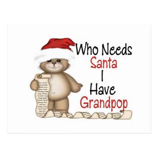 Funny Who Needs Santa Grandpop Postcard