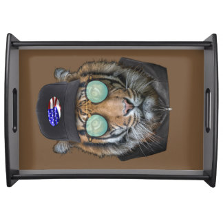 Funny wildlife dressed up Funny Bengal Tiger Serving Tray