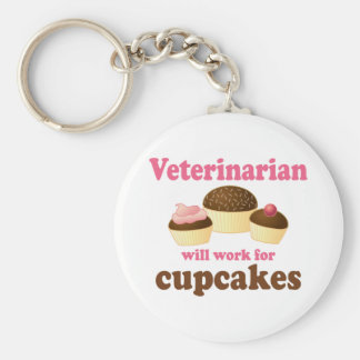 Funny Will Work for Cupcakes Veterinarian Key Ring
