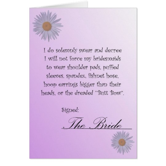 Funny Will You Be My Bridesmaid Contract Card