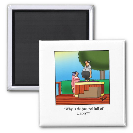 Funny Wine Cartoon Gift! Square Magnet