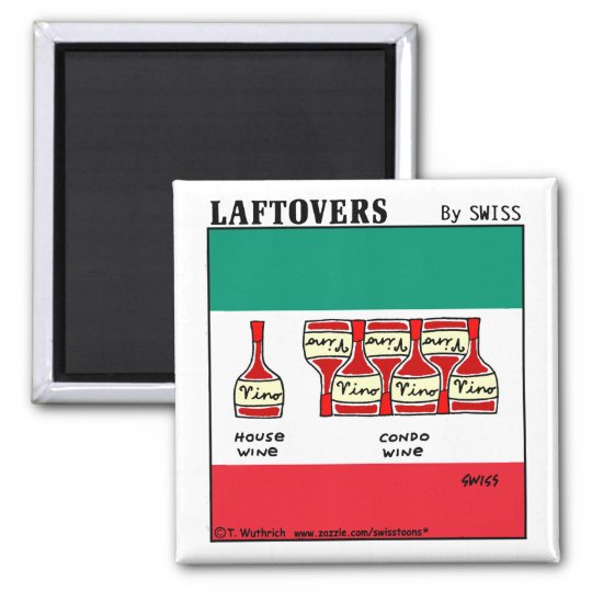 Funny Wine Cartoon Tasting Party Favours Laftovers Magnet
