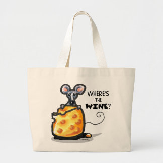 Funny Wine & Cheese Mouse Shopping Tote Canvas Bags