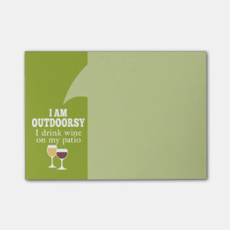 Funny Wine Quote - I drink wine on my patio Post-it Notes