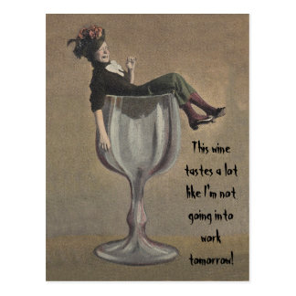 Funny wine saying hooky fun party girl Postcards