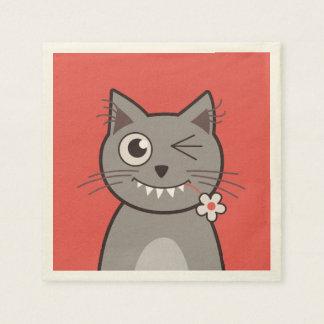 Funny Winking Cartoon Kitty Cat Disposable Serviette