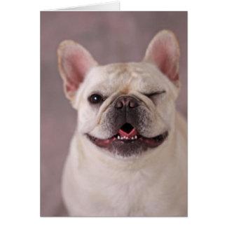 Funny winking Dog French Bulldog Greeting Card