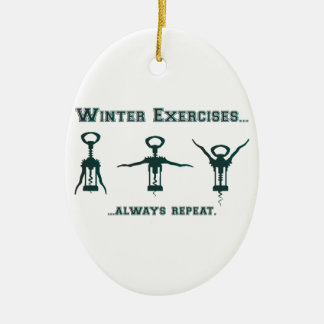 Funny Winter Exercises Christmas Ornament