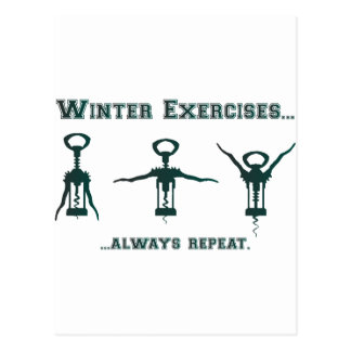 Funny Winter Exercises Postcard