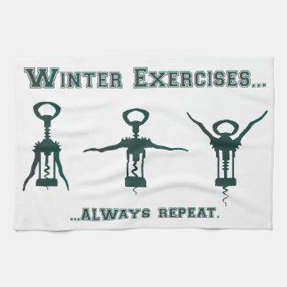 Funny Winter Exercises Tea Towel