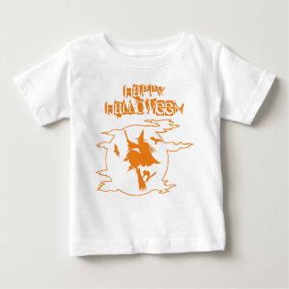 Funny Witch Broomstick World Halloween Typography Baby T-Shirt