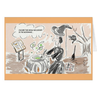 Funny Witch Cartoon/Happy Halloween Greeting Card