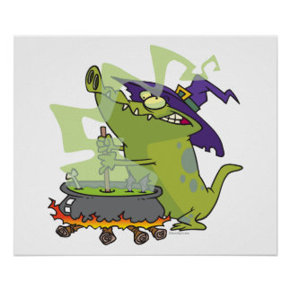 funny witch gator cooking cauldron poster