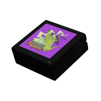 funny witch gator cooking cauldron small square gift box