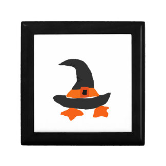 Funny Witch Hat with Duck Feet Underneath Gift Boxes