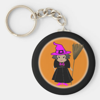 Funny Witch in Pink Hat - Halloween Party Favors Basic Round Button Key Ring