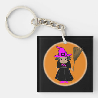 Funny Witch in Pink Hat - Halloween Party Favors Double-Sided Square Acrylic Key Ring