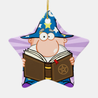 Funny Wizard Holding A Magic Book Ceramic Star Decoration