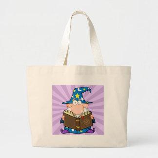 Funny Wizard Holding A Magic Book Jumbo Tote Bag