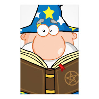 Funny Wizard Holding A Magic Book Stationery Design